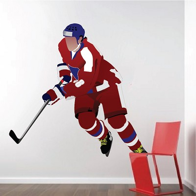 Hockey Player Wall Decal Mural