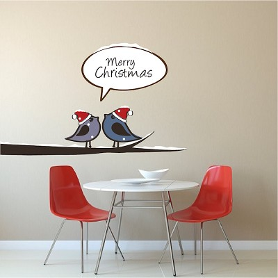 Birds on a Branch Christmas Wall Decal Decor