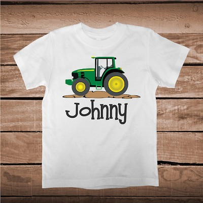 John Deer Boys Tractor Shirt With Name