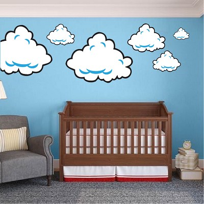 Super Mario Bros Cloud Wall Decals