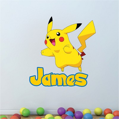 Kids Custom Pikachu Pokemon Name Decal