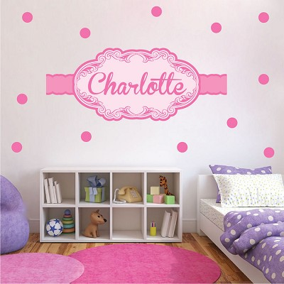 efe0e1e6e1db Girls Custom Name Wall Decal - PInk Wall Stickers for Nursery - Custom Wall  Decal Murals - Primedecals