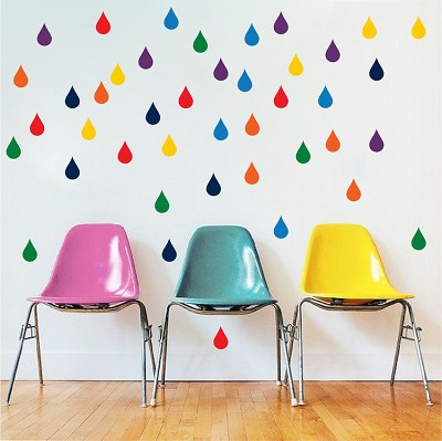 Multi Color Raindrops Wall Decals
