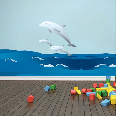 Dolphins and Waves Wall Mural Decals