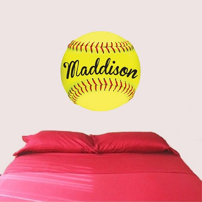Softball Wall Mural Decal Girls Sports Wallpaper Girls Room