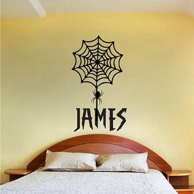 Spider Web Bedroom Hero Font Decal