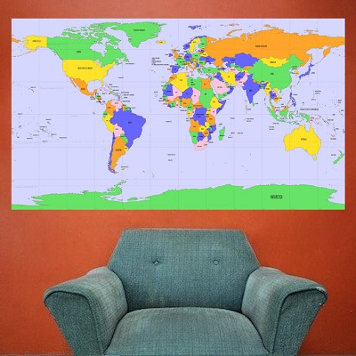 World map mural decal globe wall decal murals primedecals world map wall mural decal gumiabroncs Image collections